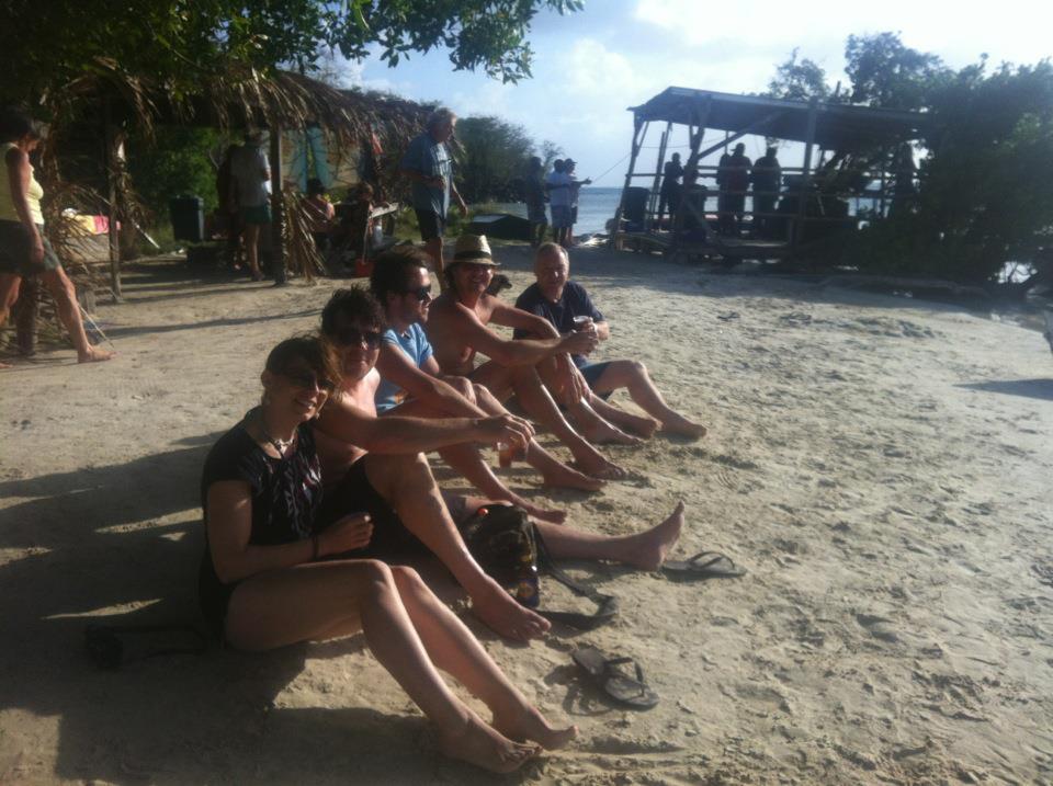 The Rocky Pontoons relaxing, Hog Island, Grenada Mya Audrey, Ere Gerber, Domi Schreiber, Peter Finc, Roman
